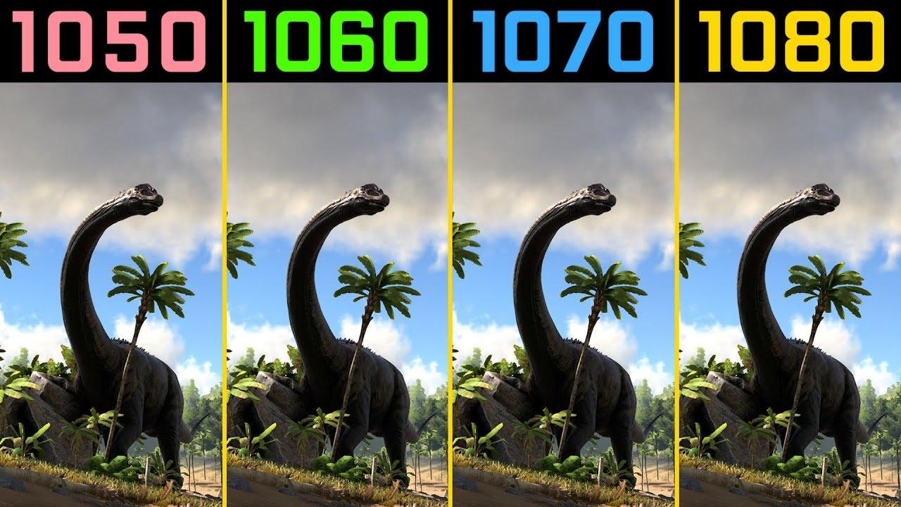 ARK: Survival Evolved GTX 1050 Ti vs  GTX 1060 vs  GTX 1070 vs  GTX 1080