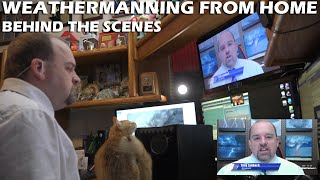 Here is a little behind-the-scenes of what it looks like to do weather remotely from home. also had give kitty-kameo my pudgy ginger, zuma, wh...