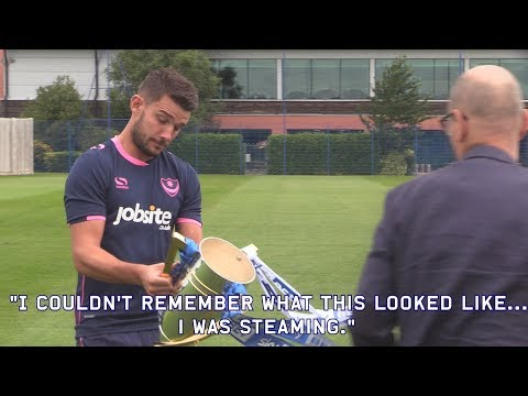 Jack Whatmough and Conor Chaplin narrate Gareth Evans' modelling of Pompey's 2017/18 3rd kit