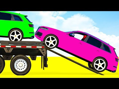 Thumbnail: LEARN COLORS OFFROAD CARS Transportation & Spiderman for Children - Superheroes Kids Cartoon