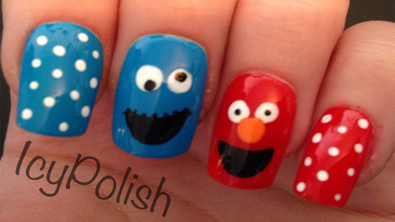 Elmo and Cookie Monster Nails - YouTube