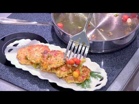 How To Make Chicken Fritters With Veggies - Healthy Recipe With Rotisserie Chicken Meat