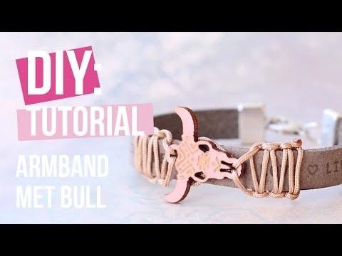 Sieraden maken: Armband met houten bull hanger ♡ DIY