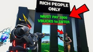 POOR KID Only Lets RICH PEOPLE in.. his secret WILL SHOCK YOU! (Fortnite)