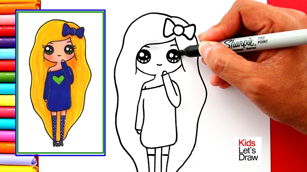 Aprende A Dibujar Una Chica Tumblr Rubia De Vestido Azul Noche