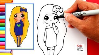 Aprende a dibujar una CHICA TUMBLR Rubia de Vestido Azul | How to Draw a Tumblr Girl