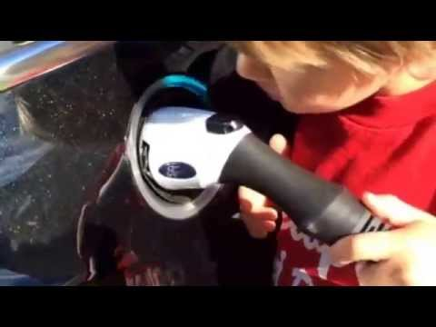 How to charge a plug in electric vehicle (Ford Energi) at home.