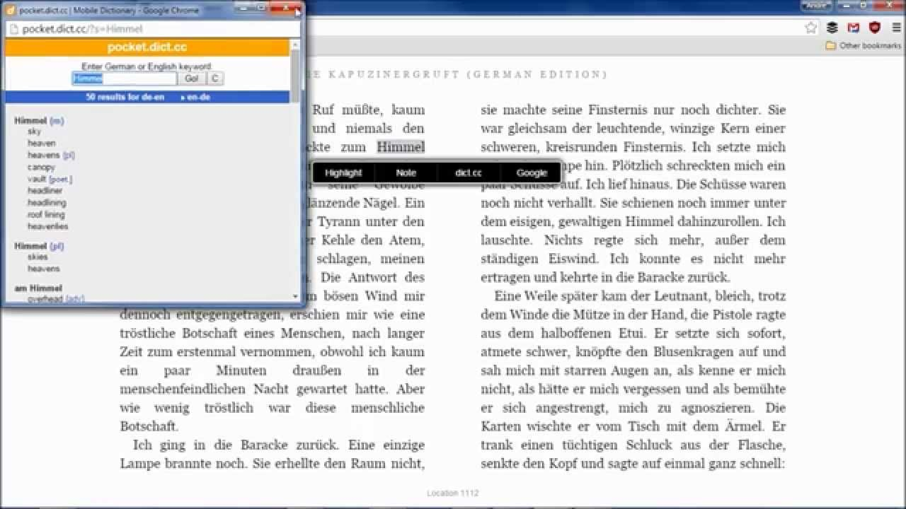 Use Google Translate and Dictionary with Kindle Cloud Reader