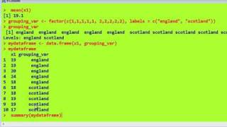 R statistics (2), factors, dataframes, tapply, attach, labels, names