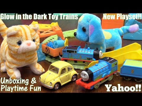 Thomas & Friends Trackmaster Glowing Mine Set. Glow In The Dark Trains. Cute Puppy & Kitty!