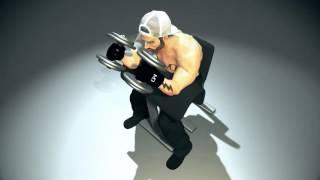 Упражнение на БИЦЕПС. Сгибание рук с гантелями (МОЛОТ) на скамье Скотта