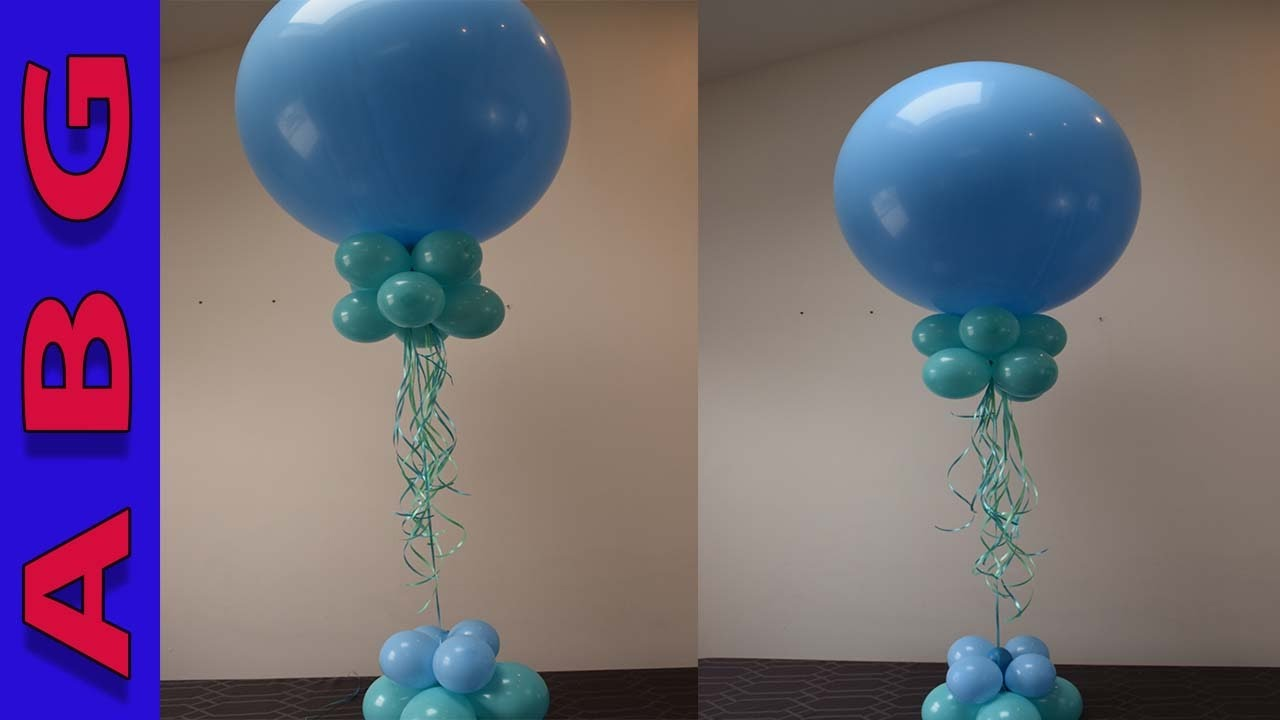 Balloon decoration tutorial easy diy balloon centerpiece for Balloon decoration making