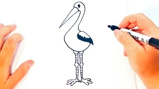 How to draw a Stork for kids | Stork Drawing Lesson Step by Step