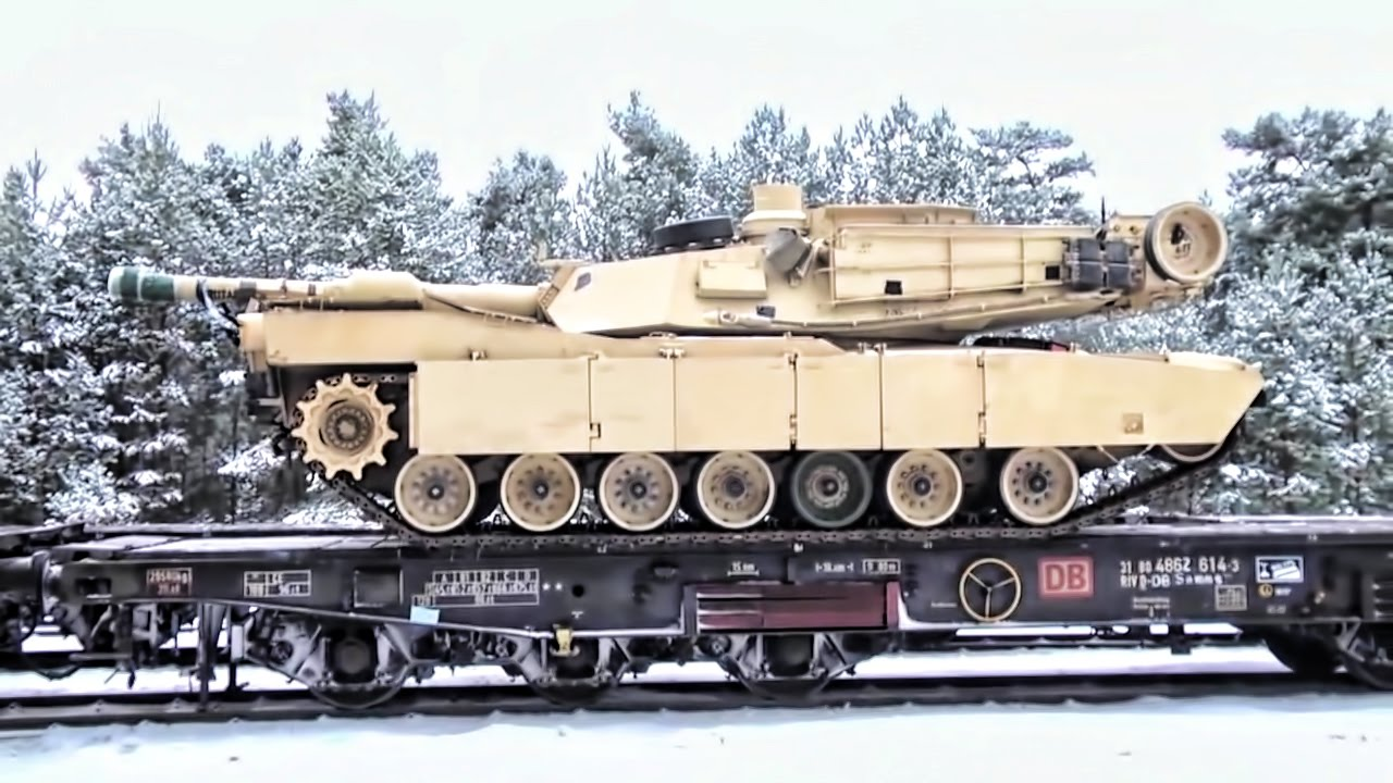 U.S. Heavy Combat Vehicles Arrive In Poland
