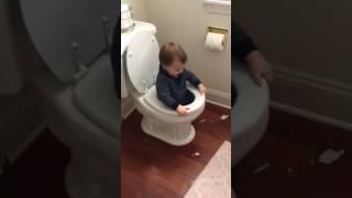 toddler in toilet