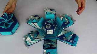 Elegant blue and silver exploding box