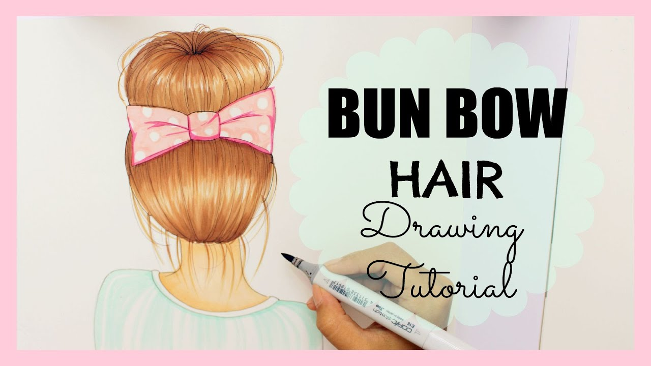 Drawing Tutorial How To Draw And Color Bun Bow Hair YouTube - Barbie hair style drawing