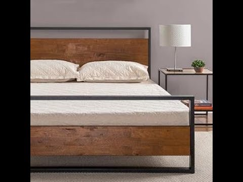 Full Zinus Horizon Metal /& Wood Platform Bed with Wood Slat Support