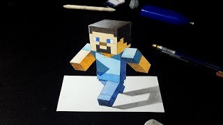 How to Draw Steve Minecraft Character in 3D - Cool 3D Art