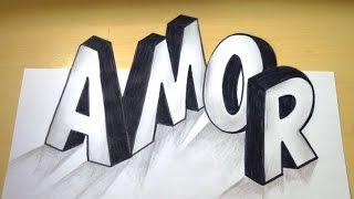 Como desenhar AMOR em 3D - How to Draw LOVE in 3D