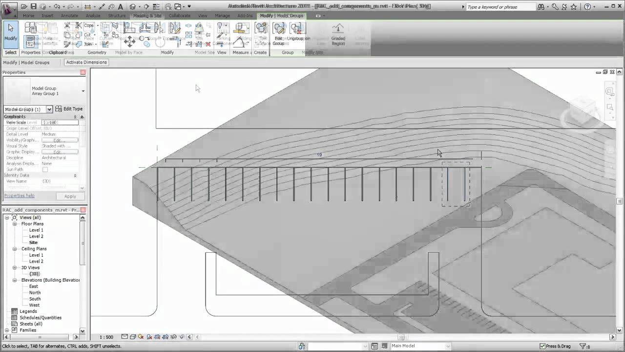 Autodesk Revit Architecture Adding Site Components Youtube