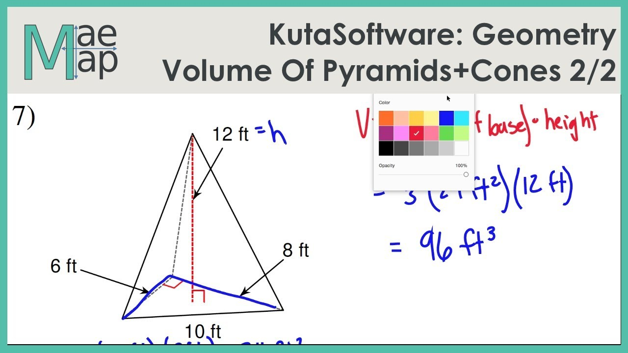 Worksheets Volume Of Pyramids And Cones Worksheet kutasoftware geometry volume of pyramids and cones part 2 youtube 2