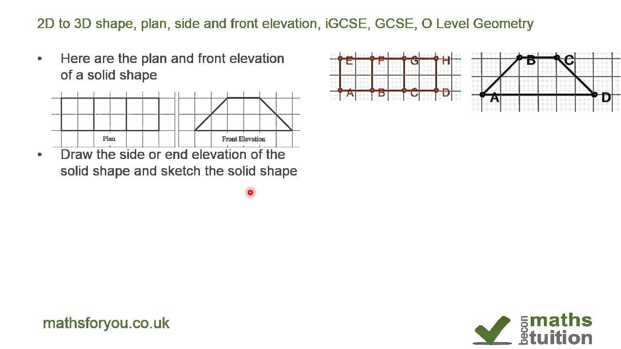Elevation End Elevation Plan : D to shape plan side and front elevation igcse