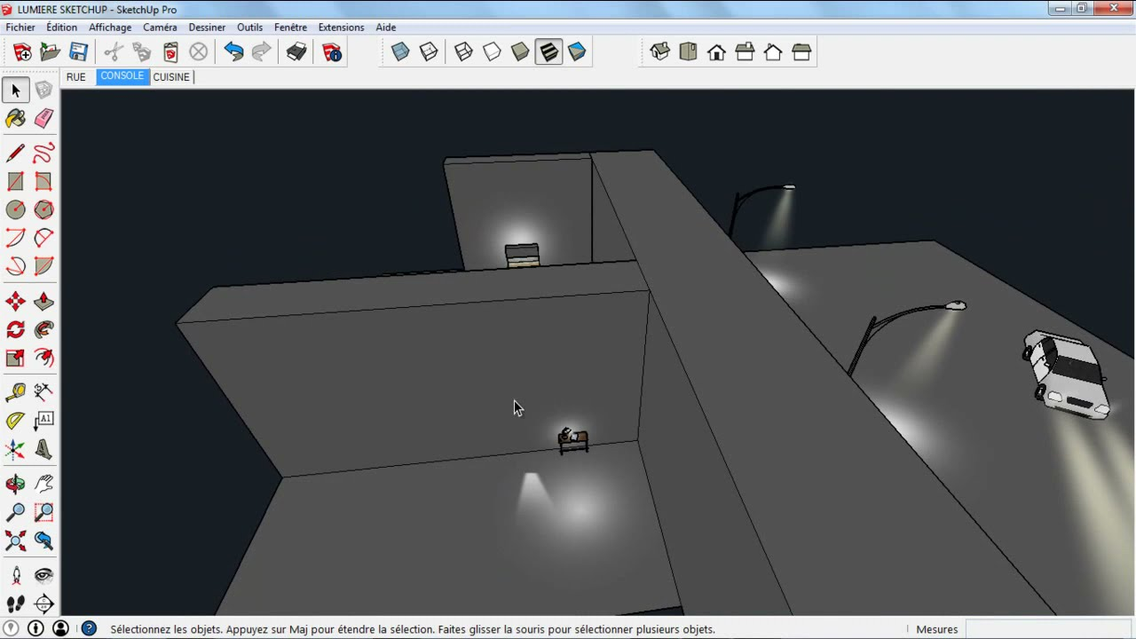 how to create light in sketchup