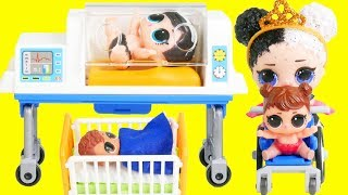 LOL Surprise Dolls Wrong Heads + Playmobil Hospital School | Toy Egg Videos