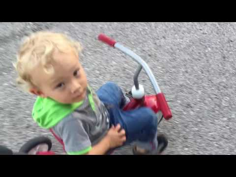 Toddler on Tricycle. Radio Flyer 4-in-1 Trike
