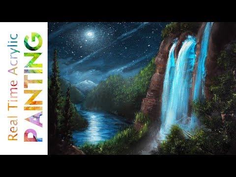 Rushing Waterfall in Moon Light Painting Tutorial with Acrylics!