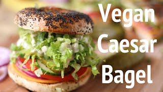 College Dorm Recipes: Vegan Caesar Salad Bagel Sandwich W/ The Edgy Veg