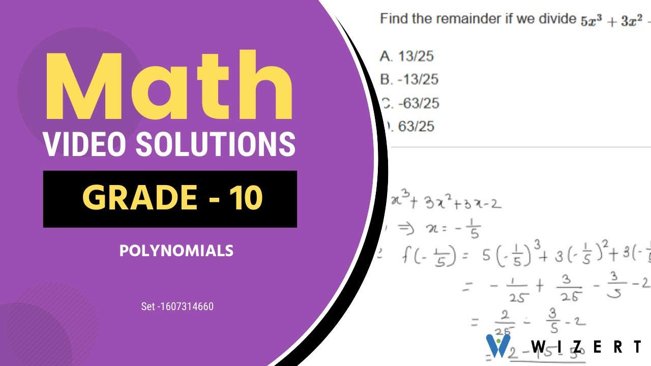 medium resolution of Grade 10 Maths Questions with Answers -Mathematics Polynomials questions  for Grade 10-Set 1607314660 - YouTube