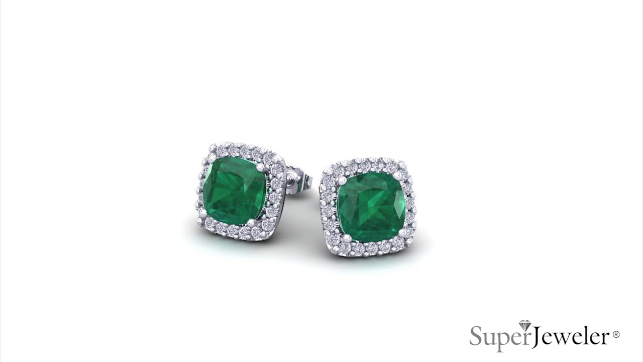 H051746 Cushion Cut Emerald And Halo Diamond Stud Earrings In White Gold Superjeweler Com