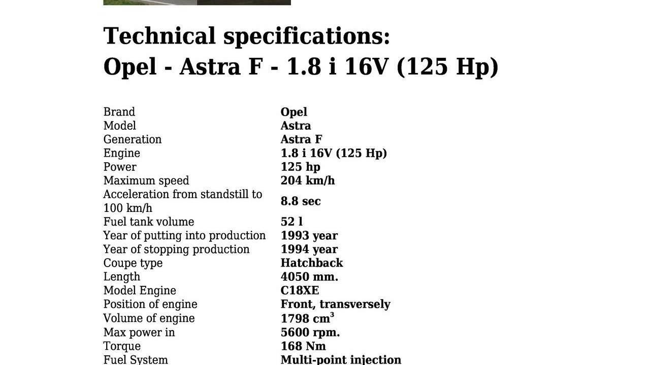 Opel Astra Technical Specifications >> Opel Astra F 1 8 I 16v 125 Hp Technical Specifications Youtube