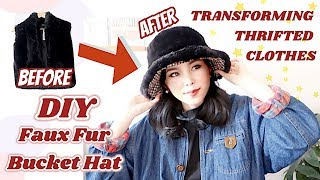 Refashion DIY Fur Bucket Hat / Clothing Transformation / リメイク ファッション / 구제옷리폼 / Tutorialㅣmadebyaya
