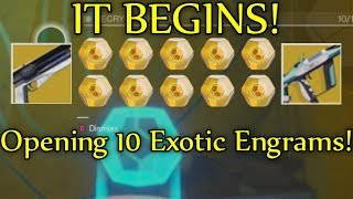 Destiny 2 - MY LUCK IS SO BAD! Exotic Engram Opening - Decrypting 10 Exotic Engrams!