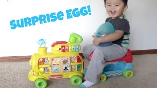 Playtime with the Vtech Alphabet Train, Opening Big Surprise Egg Toys