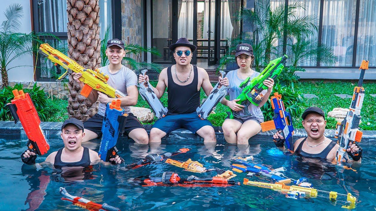 LTT Game Nerf War : Warriors SEAL X Nerf Guns Hunter Fight Underworld Crime Rocket Crazy