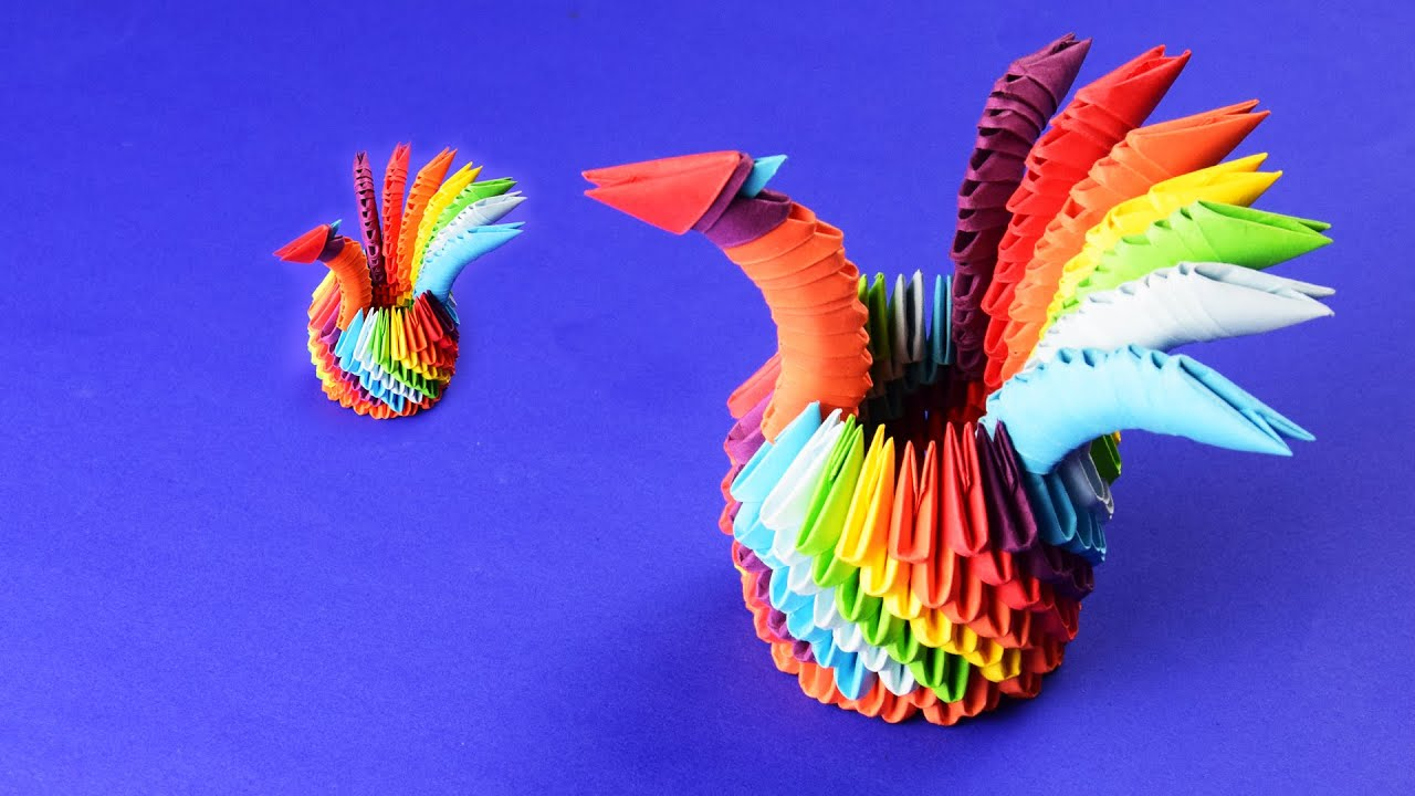 3D origami a Rainbow Swan (Peacock) Tutorial Assembly ... - photo#8