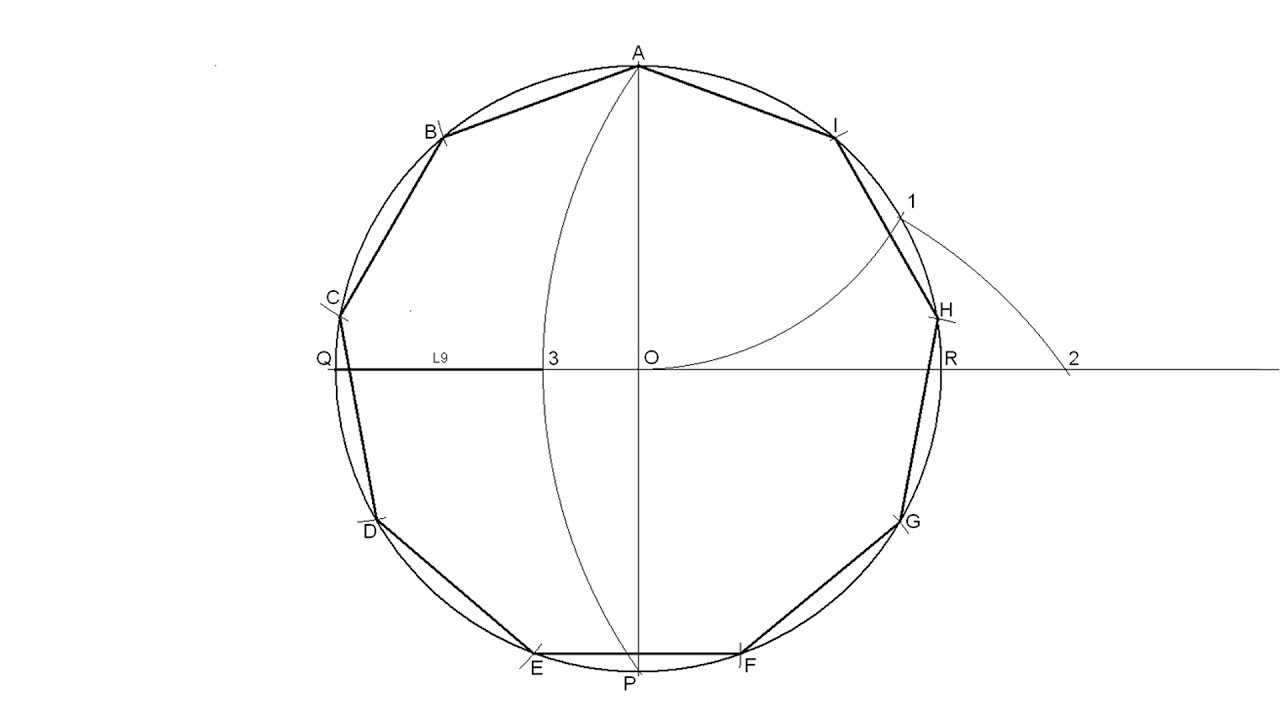How To Draw A Regular Nonagon Inscribed In A Circle Youtube