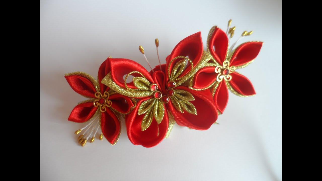 Как сделать из лент цветок заколку и резинку