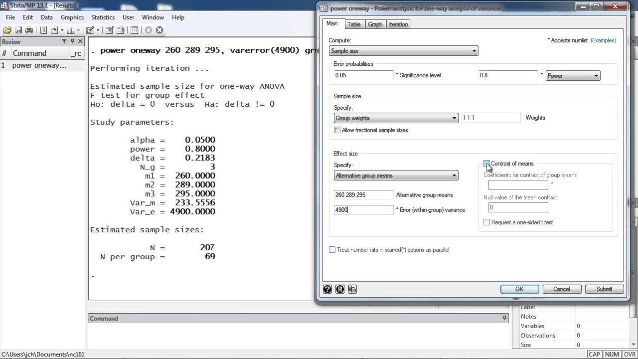 Sample size calculation for one-way analysis of variance using ...