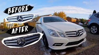 SPRAY PAINTING MY FRONT GRILL GLOSS BLACK * Mercedes E350 *