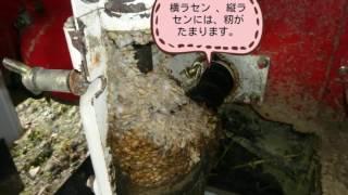 稲刈りの後は、清掃を行います。籾が残っていると次年度に、籾をタンク...