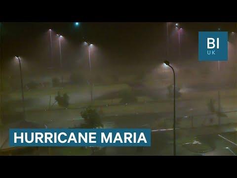 Lampposts sway as Hurricane Maria blasts the Caribbean
