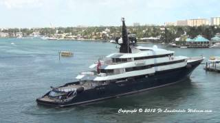 Steven Spielberg's Yacht SEVEN SEAS departing Fort Lauderdale on 3-28-12