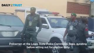 Policemen gyrating before setting out for election duty in Lagos #NigeriaDecides