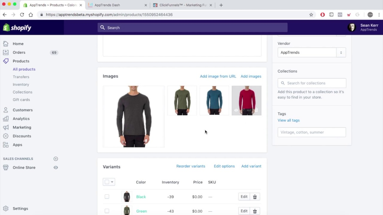 ClickFunnels Ecommerce - How To Add Variants, Quantity And Images + Order Into Shopify