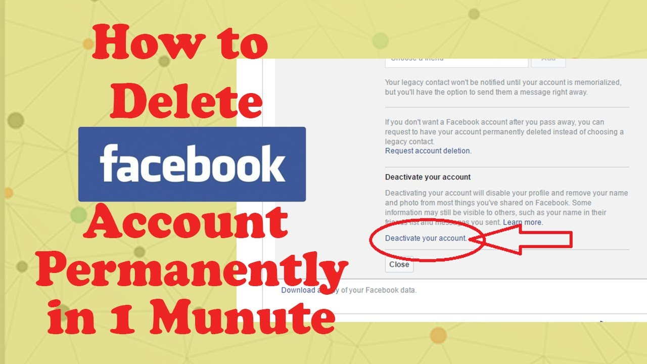How To Delete Facebook Account In 1 Minute  2017